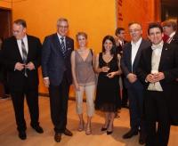 Peter Gistelinck (intendant Philadelphia Chamber Orchestra), Minister-President (Flanders) Kris Peeters, Ilse Eerens, Anneleen Lenaerts, Eddy Vanoosthuyse & Dirk Brossé