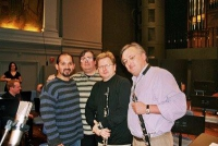 Marco Mazzini, Guido Six, Wenzel Fuchs & Eddy Vanoosthuyse (picture taken during a cd recording of the double concert of Krammar Krommer with clarinetchoir The International Clarinets)